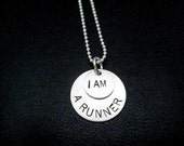 I AM A RUNNER Sterling Silver Running Necklace - 16, 18 or 20 inch Sterling Silver Ball Chain - Running Jewelry - Runner Necklace - Run Life