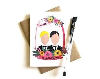 Gay Wedding Card Customize 'Mr. & Mr. Congratulations' - Gay Wedding, Personalize, Gay Card, Wedding