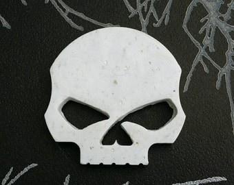 Handmade White Granite Style Skull Brooch Pin Badge Gothic Emo Steampunk