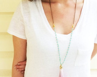 Long Leather Tassel Necklace Turquoise Yellow and Hot Pink