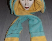 Bunny Rabbit Hood Fleece Scoodie Spirit Hood Kawaii Hat Scarf OOAK Custom