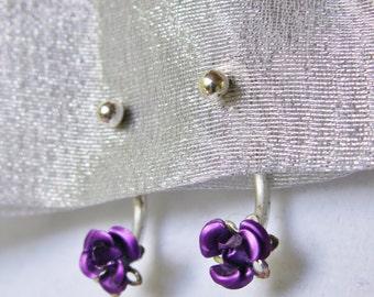 Purple Rose Stud Earrings Front Back Pierced Earrings