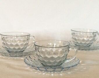 Teacup and Saucer 8 fl. oz. Honeycomb//Bubble Pattern Translucent Blue Circa 40's