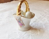 Miniature Basket with Three Tiny Eggs, Porcelain Basket with Courting Couple