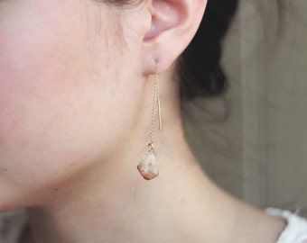 Threader earring with raw citrine gemstone and 14k gold ear thread - minimalist boho earrings by fildee