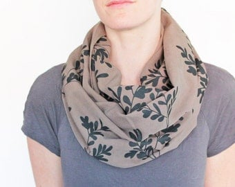 Organic Linen and Tencel Infinity Scarf - Beige with Oak Leaves Print