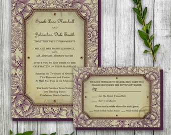 Antique Wedding Invitation Set, Nature Invitation Printable, Rustic Wedding Set, Earthy Invitation, Vintage Floral Invite, Outdoor Wedding