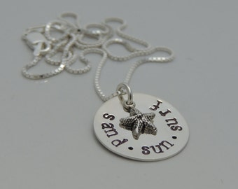 Beach Necklace - Hand Stamped Beach Jewelry - Starfish Necklace - Sterling Silver Necklace - Beach Girl Necklace - Sand Sun Surf