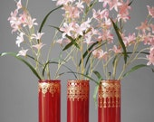 Bohemian Glass Vases, Scarlet Tinted Glass with Golden Accents