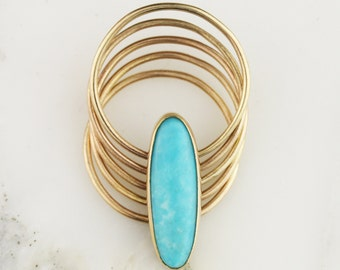 Solid 14k or 18k Gold Turquoise Hinged Stacking Thin Ring - 5 Bands
