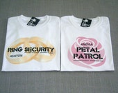 SALE - Ring Security Ring Bearer Rings and Petal Patrol Pink Rose Flower Girl Personalized Wedding T-Shirts : 2 Shirts For 25 Dollars