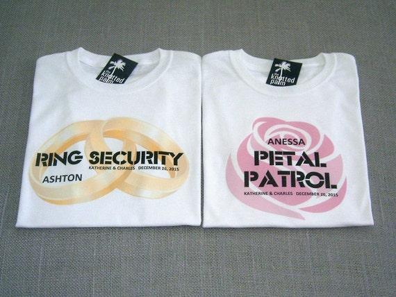 Ring Security Shirt AND Petal Patrol Shirt, Wedding Shirt, Wedding Clothing, Gold Wedding Band Rings, Pink Rose