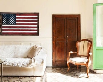 "American Flag on Reclaimed Distressed Wood 40"" X 22"""