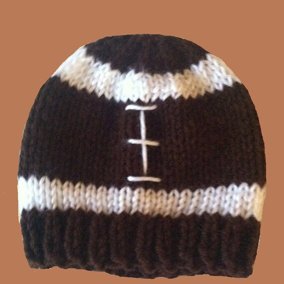Knit Pattern Baby Football Hat : Baby Football Hat NFL Football Knit Newborn by sweetvioletsdesigns