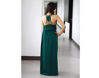 Green Maxi Dress / Bridesmaid Dress/ Spaghetti Strap Low Back Dress / Emerald Maxi Party Dress
