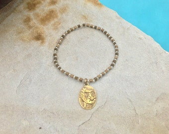 Dainty Boho Chic Stretch Bracelet with Fish Fossil Gold Charm - Mixed Metal and Crystal