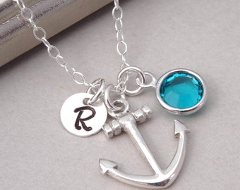 Personalized Anchor Necklace & Birthstone, Sterling Silver, Anchor Jewelry, Mother's Necklace, New Mom, Best Friend Gift, Nautical Necklace