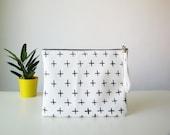 Cross print clutch, Faux vegan leather, Monochrome clutch, Clutch bag, Clutch purse, Black and White Pouch Wristlet