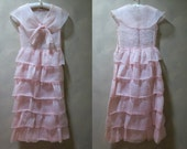 Pink Sheer Organza 1920's Shawl Collar Dress with Ruffled Tiers