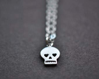Skull Necklace - Silver Skull Necklace - Small Skull Pendant With Sterling Silver Chain - Skull Jewelry - Aldari Jewelry Designs