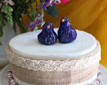 Cobalt Blue Birds, Ceramic Birds, Love Bird Topper, Wedding Cake Topper, Ceramic Sculpture, by Laura Pallatin of LaBelle Mariposa