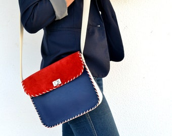 Blue, red and off white leather bag / Handmade crossbody - messenger bag / High quality Italian leather