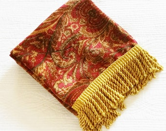 Vintage Cottage Home Pomegranate Red and Burnished Gold Table Runner, Olives and Doves
