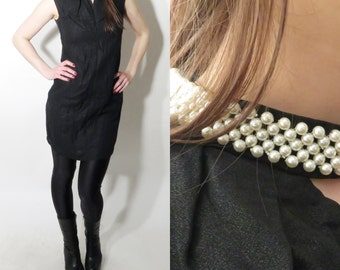 Vintage Black Dress Pearls Colar Size 42 /  L