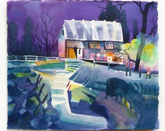 "Watercolor Barn, Watercolor Farm, Watercolor Landscape, Night Scene, Night Painting, Watercolor Painting, Abstract Landscape, 8 1/4"" x 7"""
