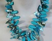 Turquoise Statement Necklace, Turquoise Teardrops, Freeform Freshwater Pearls, Turquoise Oval Pendant, .925 Sterling Silver