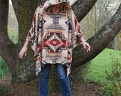 Southwestern Print Hooded Poncho Aztec Tribal Native American Hoodie