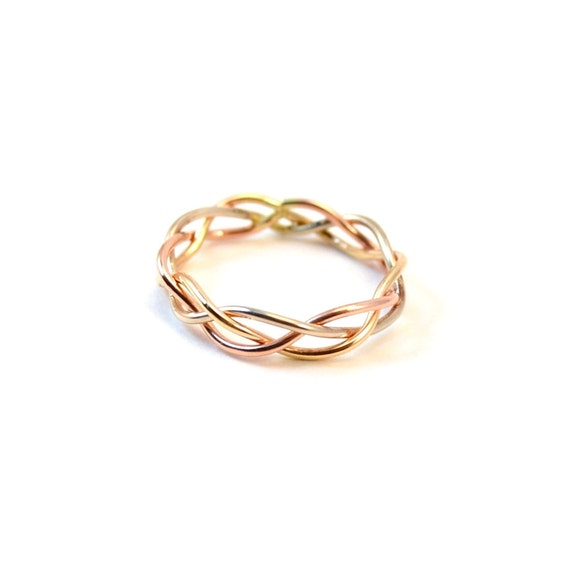 14K Gold Braided Ring - Unique Engagement Ring - Low Profile Wedding Band