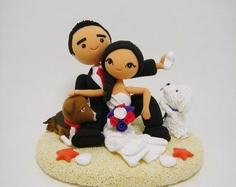 Beach theme custom wedding cake topper
