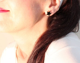Black or Blue Star Stud Earrings, FREE SHIP, Simple Cute Stud Earrings, Everyday post earrings, girl friend gift, Christmas Birthday gift