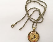 Pendant Necklace / Statement Jewelry / Daffodil / Bronze Chain / Layered Necklaces / Bridesmaid Gifts / Vintage Inspired Jewelry