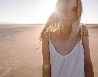 Rhinestone Crystal Sleeve Hippie Wedding Dress