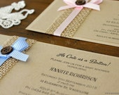 Rustic Baby Shower Invitation- handmade with button and bow, recycled Kraft card and a line of burlap
