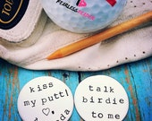 Custom Golf Ball Markers, Fathers Day Gift, Handstamped Golf Ball Markers, Gift for Golfers, Golf Ball Marker, Golf Gift, Gift for Dad