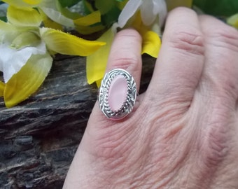 Native American Sterling Silver Pink Mother of Pearl Band Ring Size 6 1/4