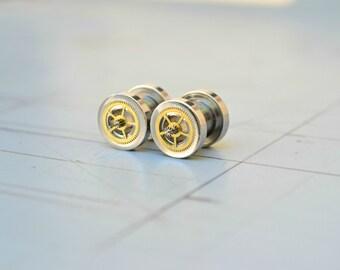 Steampunk Gear Ear Gauges, 2G Geek Ear Plugs, Ear Flesh Tunnel Body Jewelry, 2G Plugs