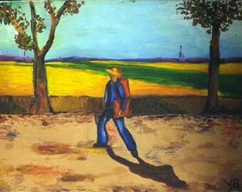 Van Gogh Summer landscape oil painting Painter on the Road to Tarascon paintings vintage vivid sunny impressionist impasto art reproduction