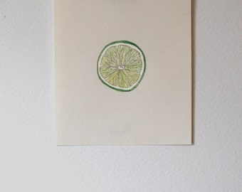 Lime watercolor, illustration, Kitchen decor, Wall Print