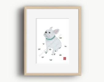 French Bulldog Art, White French Bulldog, French Bulldog Gift, Frenchie, Ready To Frame