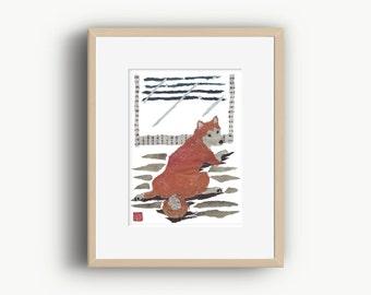 Shiba Inu Print, Modern Japanese Art, Shiba Inu Gift, Shiba Inu Wall Decor, 柴犬