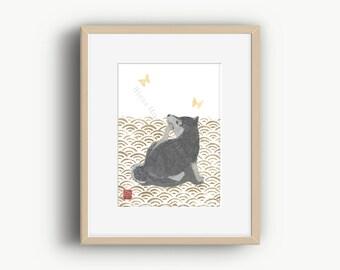 Shiba Inu Art, Black Shiba Inu, Seigaiha, Modern Japanese Art, 柴犬