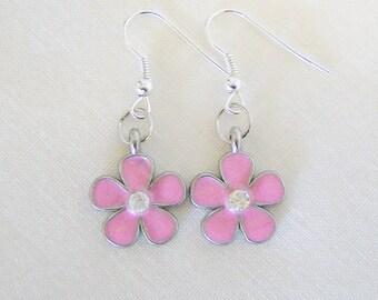 Pink daisy metal charm earrings - flower charm earrings - pink flower jewelry - pink earrings - daisy earrings - charm earrings - pink daisy