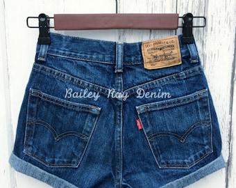 Levis High Waisted Cuffed Denim Shorts Rolled Up Denim Shorts