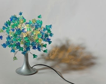 Table lamp with sea color jumping flowers for bedside table, hall, living room or children room, desk lamp to your office.