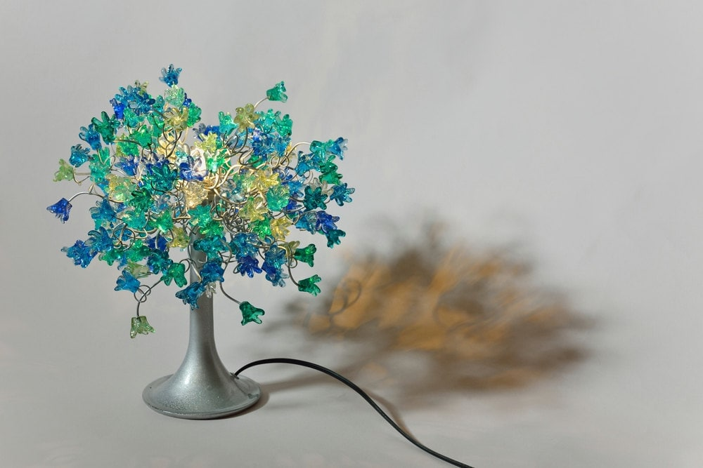 Table Lamp With Sea Color Jumping Flowers For Bedside Table