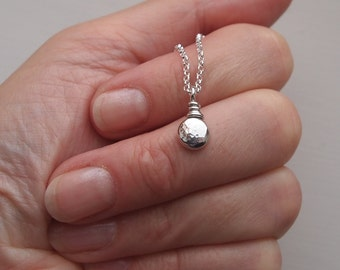Little silver layering necklace, dainty silver pebble pendant, chain options available, handmade by arcjewellery uk
